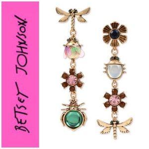 Betsey Johnson GT Bug & Flower Mismatch Earrings